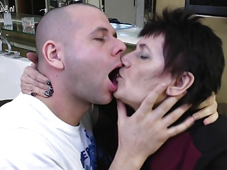 Grandma fucked by young boy