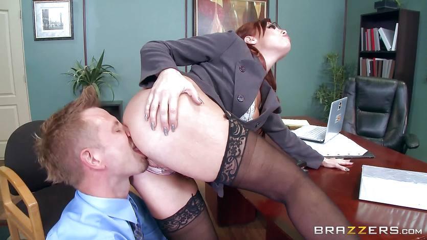 Redhead boss Britney Amber fucks a horny employee | PornTube ®