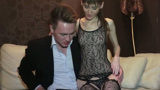 Kinky girl in sexy body fishnet serves one strange guy for cash - Teens porn