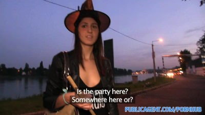 PublicAgent Halloween witch gets fucked behind a tree in