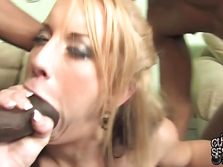 Sexy wife fucked in all holes by blacks in front of husband