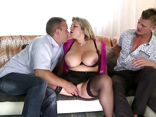 Two guys fuck posh and busty mature mom