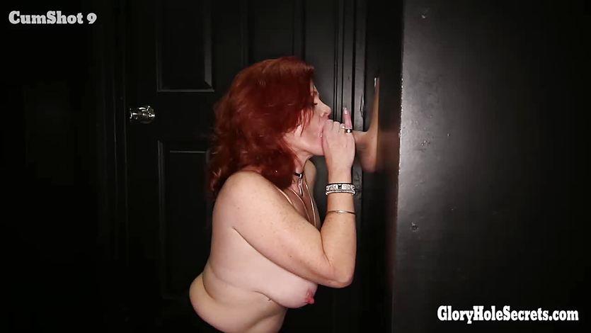 Gloryhole Secrets Redhead Gilf swallows strangers cum | PornTube ®