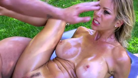 Thirsting stepson fucks kinky oiled up MILF in the garden tough - Hardcore porn