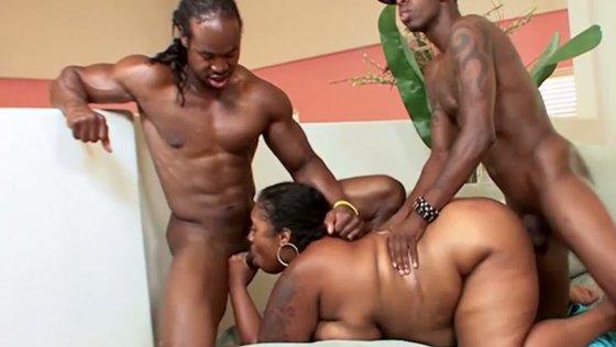 Two black studs fucks chubby ebony whore in doggy pose - Black Girls porn