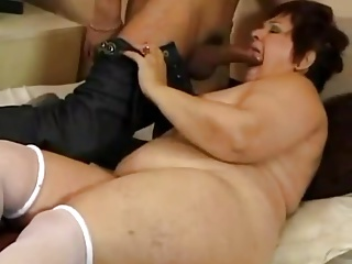 Mature BBW MILF loves young cock in her ass