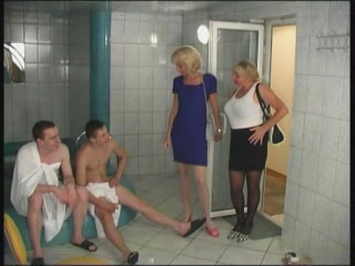 Old Chicks At The Sauna Meet A Couple Of Fellas To Fuck