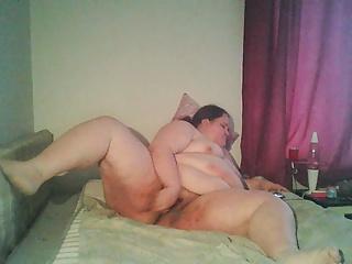 Really fat chick masturbating, 2 orgasms