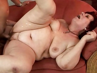 Fat grandma enjoying hard fucking