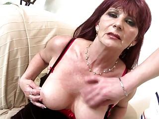 Granny super whore takes young big cock