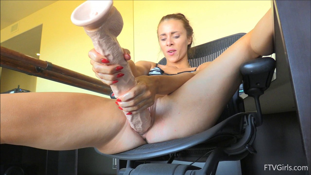 She Experiments With A Massive Dildo Deep In Her Pussy