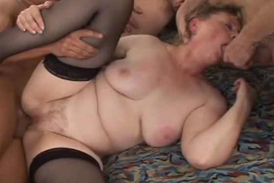 Chubby granny gets her pussy pounded in gangbang video - Grannies porn