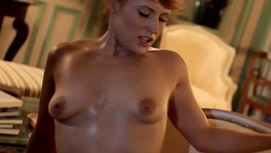 Red haired whorish sex doll gives steamy blowjob to her guy - Small Tits porn