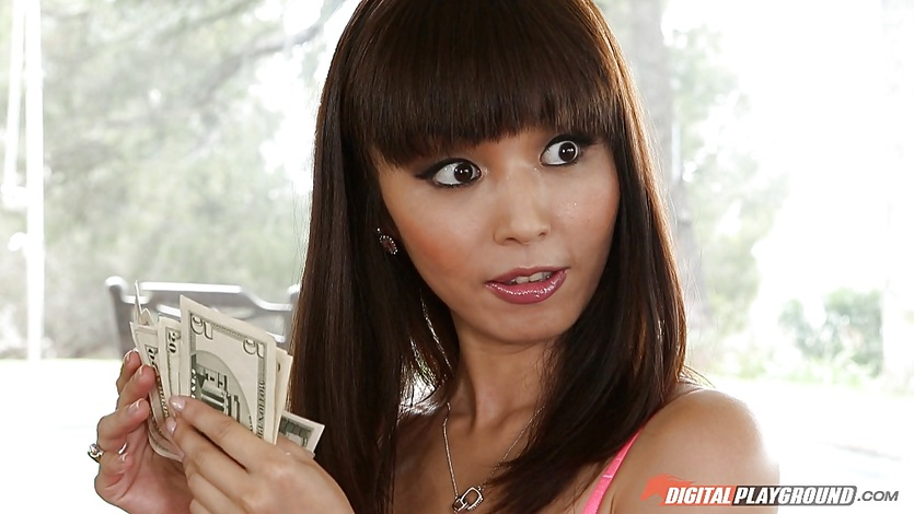 Paying sweet asian babe Marica Hase to gag on dick