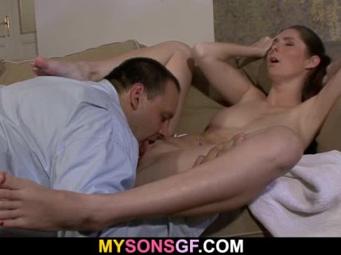 Old man licks and fucks her sweet pussy