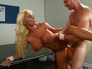Young big titted blonde gets roughly fucked at table tennis match