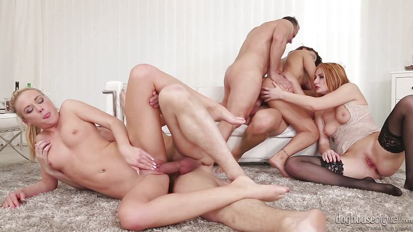 Bilie Star, Eva Berger and Vinna Reed pussy and ass thrashing orgy