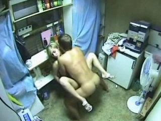Security cam captures young teens fucking in storage room. - Voyeur porn