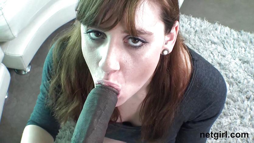 Sweet brunette getting a huge black dick