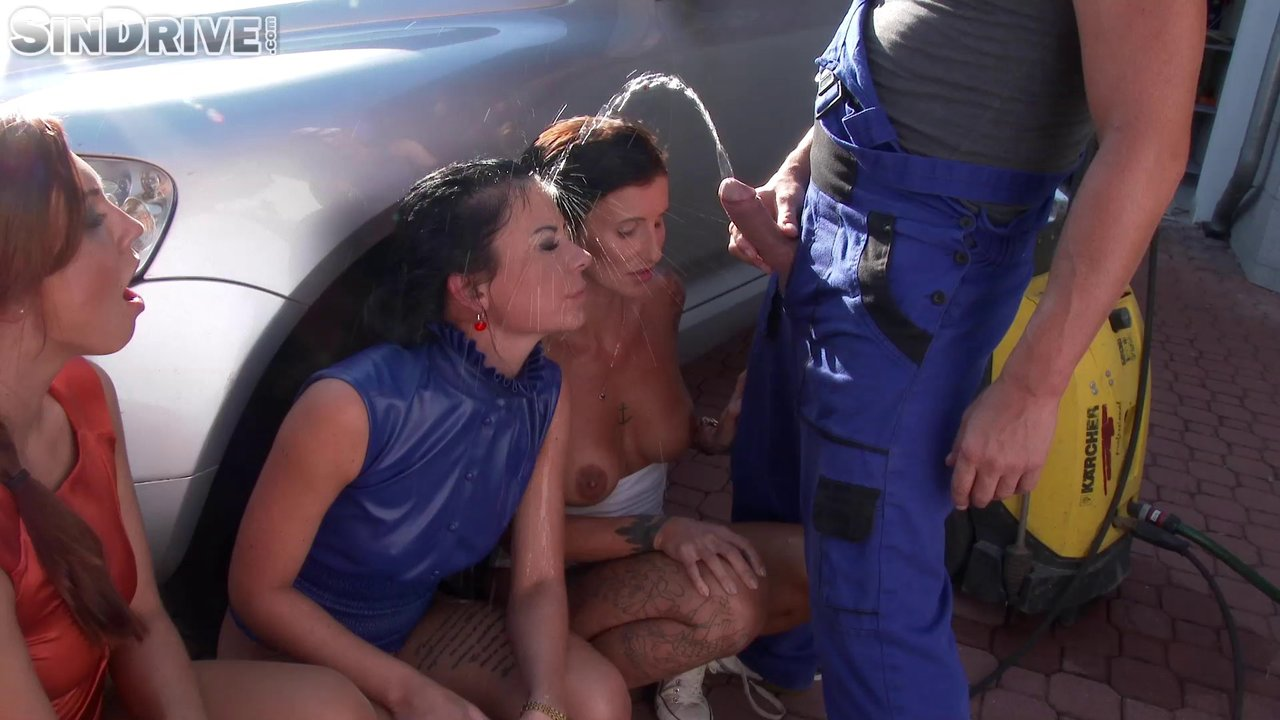 Lucky Mechanic Takes A Leak All Over The Faces Of Pretty Babes