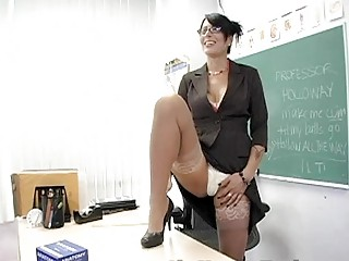 Hot brunette teacher masturbates in classy lingerie - Sunporno Uncensored