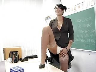 Seksowna nauczycielka masturbuje sie
