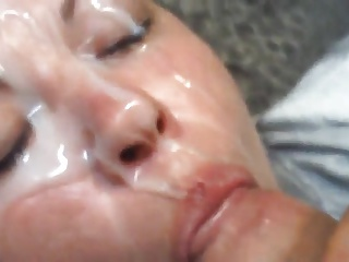 Huge cumshot on her face