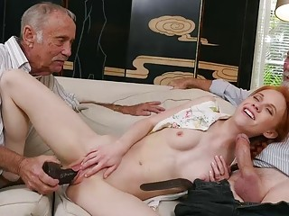 Dolly Little sucks old mans cock while being stuffed (New! 19 Oct 2016) - Sunporno
