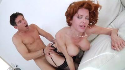 redhead in black lingerie - Porn Video 721