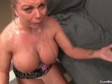 cumblast-Topless milf gets splattered with a pop