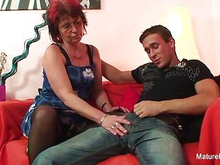 Punky pierced granny loves to suck & fuck