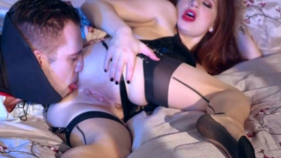 Saucy red haired babe in stockings gets her muff licked by kinky pussy man - Whore Wives porn