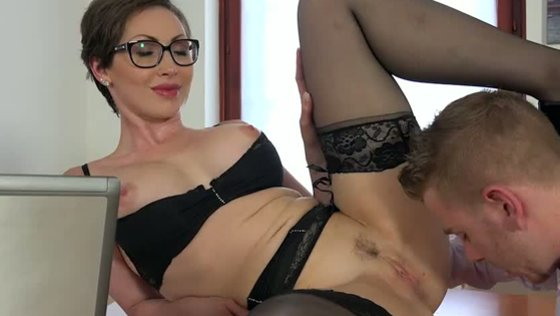 Buxom black haired mommy in glasses Yasmin Scott sucks her boss off in the office - Hardcore porn
