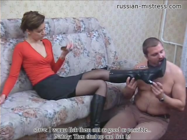 Ravishing Russian Domina Makes Her Hung Man Lick Her Feet