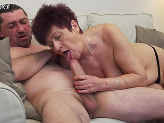 Granny having sex with younger guy
