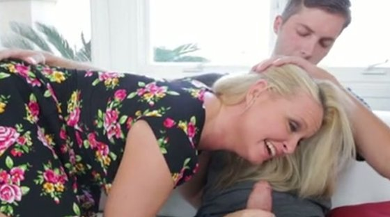 Blue eyed mature blonde with juicy melons Maya Divine gives solid BJ to shy dude - Blowjob porn