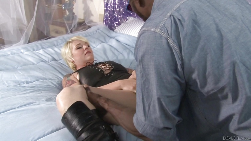 Kinky blonde stuffed by a black cock
