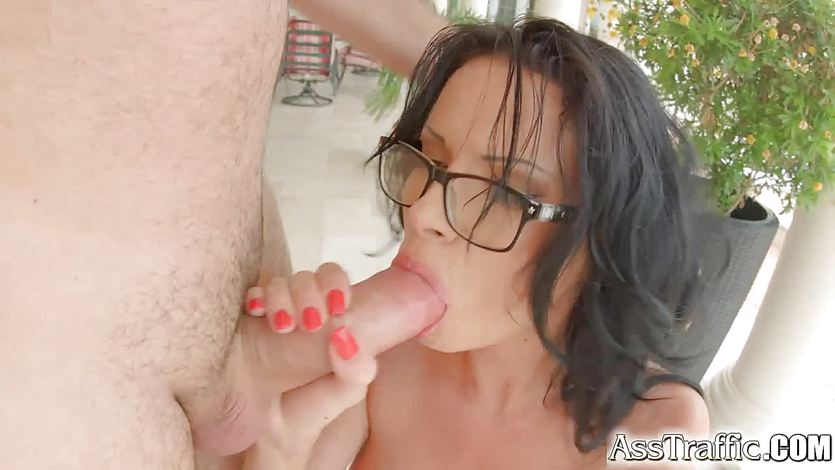 AssTraffic Ass fucked brunette gets cum load all over