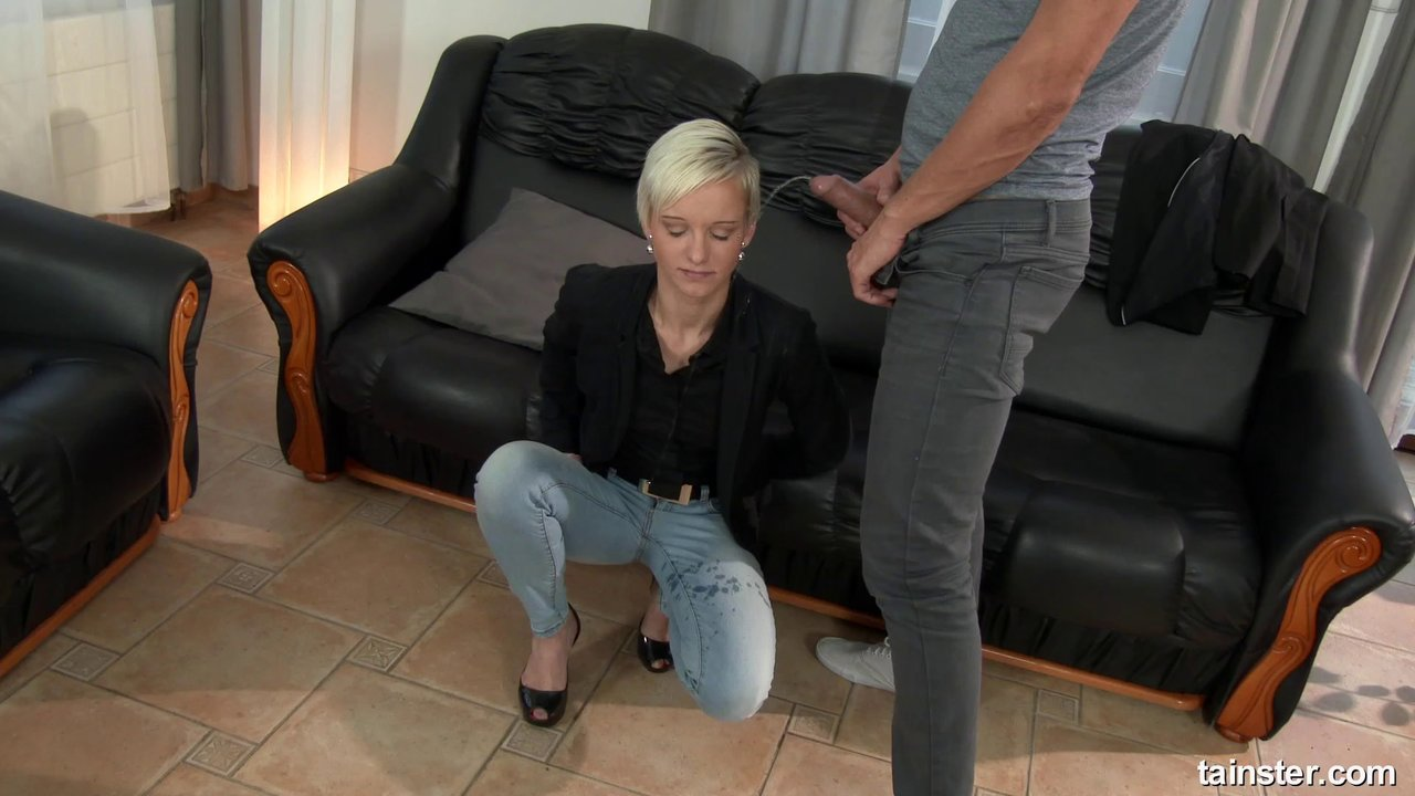 Short-Haired Blonde Gets A Facial After A Doggy Style